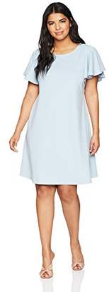 Tiana B Women's Plus Size Short Ruffle Sleeve a-line Dress