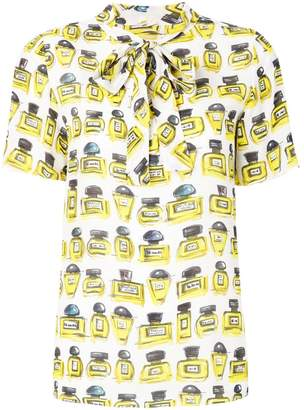 Moschino perfume bottle print pussybow blouse
