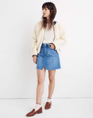 Madewell Rigid Denim A-Line Mini Skirt in Keene Wash: Cutout Edition