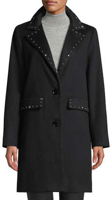 Sofia Cashmere Studded Two-Button Wool Coat