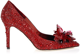 Jimmy Choo ALIA Red Crystal Covered Pointy Toe Pumps