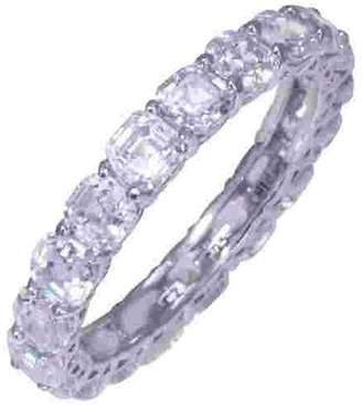 Diamonique Asscher Cut 4.90 cttw Eternity Ring,Platinum Clad