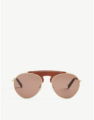 LW40005U leather bridge pilot-frame sunglasses