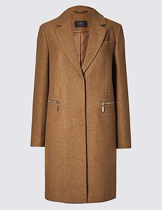 M&S Collection Wool Blend Single Breasted Coat