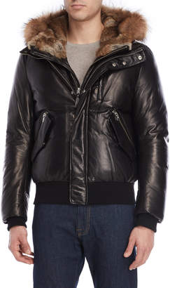 Mackage Black Real Fur Hooded Down Leather Jacket