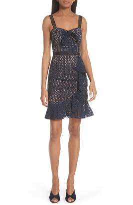Self-Portrait Knot Front Broderie Anglaise Dress