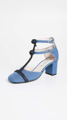 Leandra Medine T-Strap Rope Mid Heels