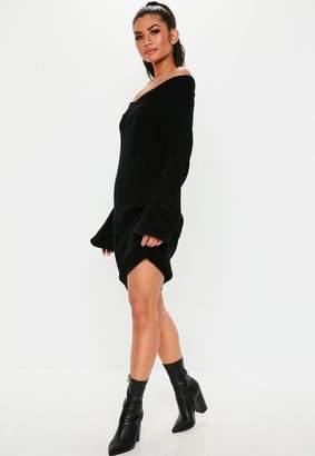 Missguided Petite Black V Neck Sweater Dress