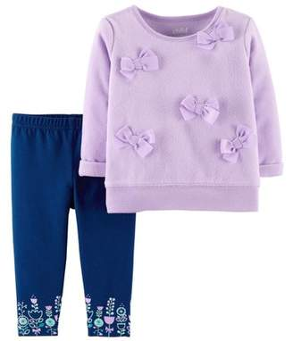 Carter's Child of Mine by Long Sleeve Bow Fleece Top & Pants, 2-Piece Outfit Set (Baby Girls)