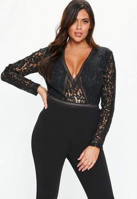 Missguided Plus Size Black Plunge Bodysuit