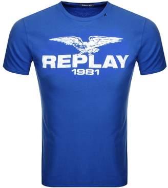 Replay Logo Crew Neck T Shirt Blue