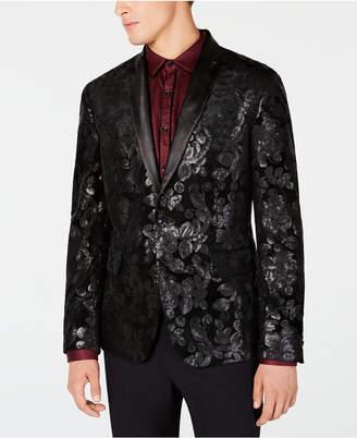 INC International Concepts I.n.c. Men Floral Sequin Velvet Blazer
