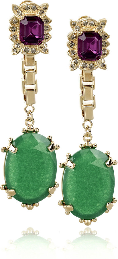 Mawi Gold-plated jade drop earrings