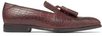 Jimmy Choo FOXLEY Maroon Croc Embossed Leather Loafers