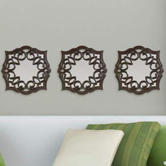 Three Posts Bronze Swirl Scroll Mirror