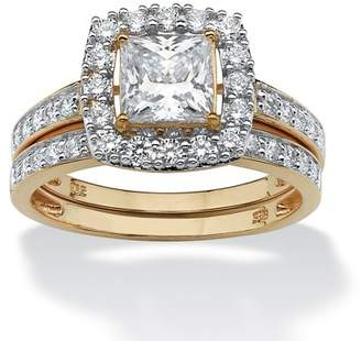 PalmBeach Jewelry Palm Beach Jewelry 1.93 TCW Princess-Cut Cubic Zirconia Two-Piece Bridal Set in 18k Gold over Sterling Silver