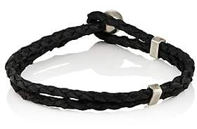 Title of Work Men's Braided Leather Bracelet-Black