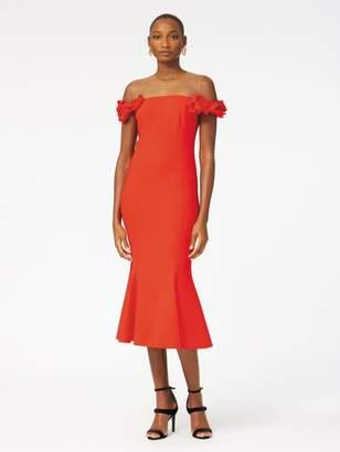 addf330a541 Oscar de la Renta Floral-Embroidered Double-Face Stretch-Wool Cocktail Dress