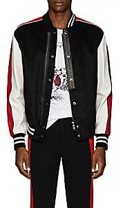 Alexander McQueen Men's Leather-Trimmed Moleskin Varsity Jacket-Black