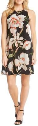 Karen Kane Sheer Floral Overlay Shift Dress