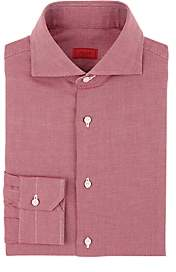 Isaia Men's Birdseye Cotton Dress Shirt - Wine