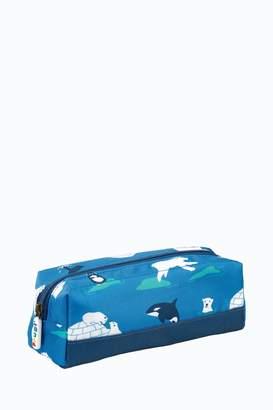 Frugi Boys Pencil Case In Polar Bear Print - Blue