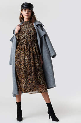 Na Kd Boho Cold Shoulder High Neck Midi Dress Leoprint