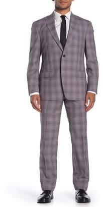 Hart Schaffner Marx Purple Plaid Two Button Notch Lapel Wool Regular Fit Suit