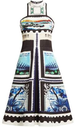 Mary Katrantzou Katmanda Stamp Print Satin Dress - Womens - Black Blue
