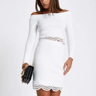 River Island Womens White knit scallop lace hem bardot top