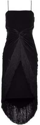 Cinq à Sept Yolette Twist-Front Satin-Paneled Fringe-Trimmed Crepe Dress
