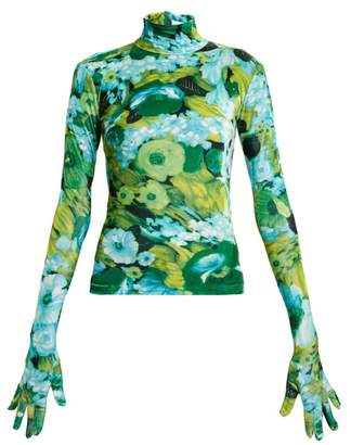 Richard Quinn - Floral Print High Neck Velvet Top - Womens - Blue Print