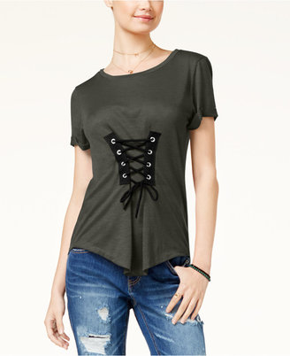 Almost Famous Juniors' Corset-Front High-Low T-Shirt