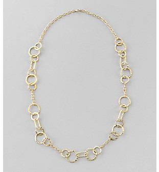 """Relativity 32"""" Goldtone Hammered Link Necklace"""