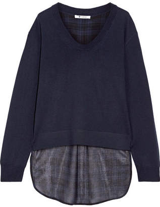 T by Alexander Wang - Asymmetric Plaid Gauze And Merino Wool Sweater - Midnight blue