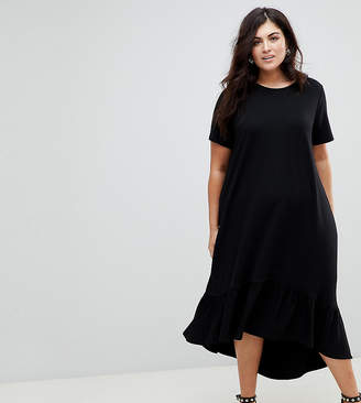 Asos DESIGN Curve midi t-shirt dress with drop hem