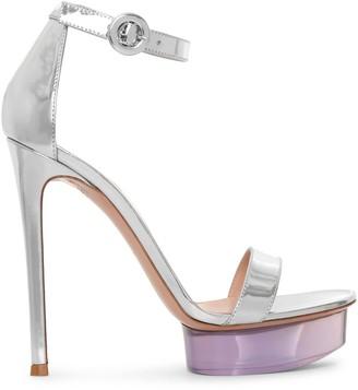 Gianvito Rossi Silver metallic platform sandals