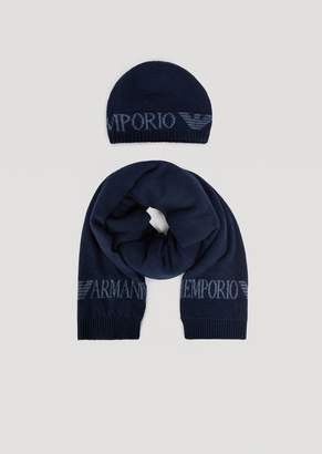 Emporio Armani Matching Knitted Scarf And Hat Set With Logo