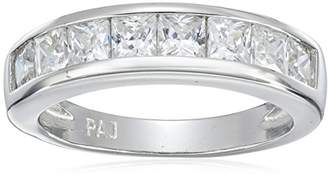 Platinum Plated Sterling Silver Princess Cut Cubic Zirconia Channel Set Ring