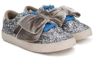 Douuod Kids bow-detail glitter sneakers
