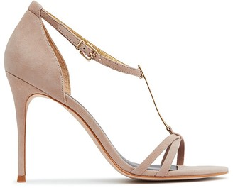 REISS Ariana Metal T-Bar Open Toe Sandals $285 thestylecure.com