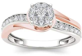 Imperial Diamond Imperial 3/8 Carat T.W. Diamond Pink Two-Tone Bypass Cluster 10kt White Gold Engagement Ring