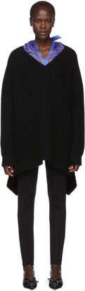 Balenciaga Black Wool Scarf V-Neck Sweater