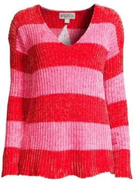 Wildfox Couture Chenille Shiny Striped Sweater