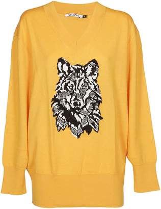 Krizia Jacquard Wolf Knit Sweater