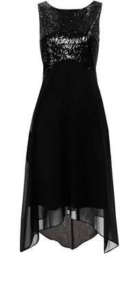 Wallis PETITE Black Embellished Asymmetric Dress