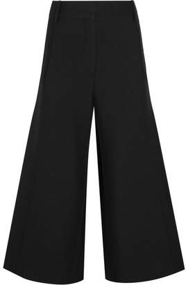 Valentino Wool And Silk-blend Crepe Culottes - Black