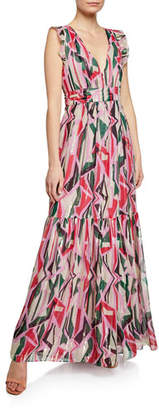 BA&SH Betty Geo-Print Belted Metallic Long Dress