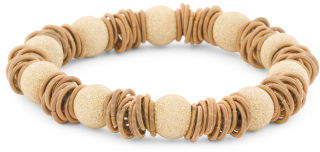 Made In Italy 18k Gold Plated Silver Beads And Spring Bracelet