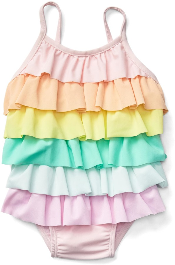 Pastel rainbow ruffle swim one-piece 2
